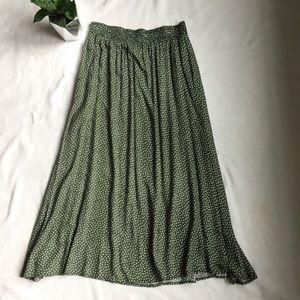 Vintage olive green polka dot midi skirt